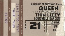Ticket stub - Queen live at the The Gardens, Louisville, KY, USA [21.01.1977]