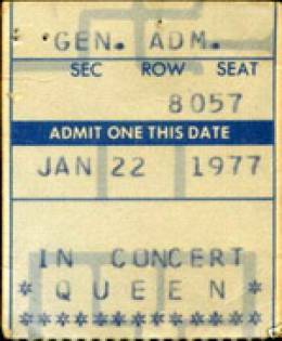 Ticket stub - Queen live at the Wings Stadium, Kalamazoo, MI, USA [22.01.1977]