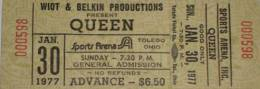 Ticket stub - Queen live at the Sports Arena, Toledo, OH, USA [30.01.1977]