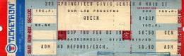 Ticket stub - Queen live at the Civic Centre, Springfield, MA, USA [03.02.1977]