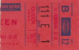 Ticket stub - Queen live at the Madison Square Garden, New York, NY, USA [05.02.1977]