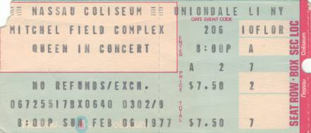 Ticket stub - Queen live at the Nassau Coliseum, Uniondale, Long Island, NY, USA [06.02.1977]