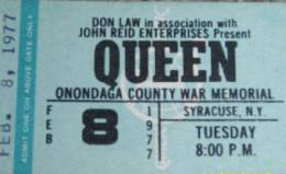 Ticket stub - Queen live at the War Memorial Auditorium, Syracuse, NY, USA [08.02.1977]