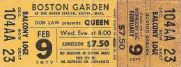 Ticket stub - Queen live at the Garden, Boston, MA, USA [09.02.1977]