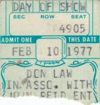 Ticket stub - Queen live at the Civic Centre, Providence, RI, USA [10.02.1977]