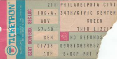 Ticket stub - Queen live at the Civic Centre, Philadelphia, PA, USA [11.02.1977]