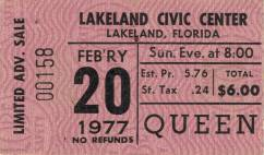 Ticket stub - Queen live at the Civic Centre, Lakeland, FL, USA [20.02.1977]