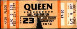 Ticket stub - Queen live at the Kiel Auditorium, St. Louis, MO, USA [23.02.1977]