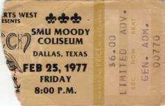 Ticket stub - Queen live at the SMU Moody Coliseum, Dallas, TX, USA [25.02.1977]