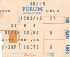 Ticket stub - Queen live at the Forum, Inglewood, CA, USA [02.03.1977]