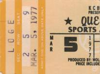 Ticket stub - Queen live at the Sports Arena, San Diego, CA, USA [05.03.1977]