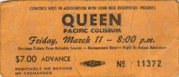 Ticket stub - Queen live at the PNE Coliseum, Vancouver, Canada [11.03.1977]