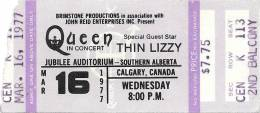 Ticket stub - Queen live at the Jubilee Auditorium, Calgary, Canada [16.03.1977]