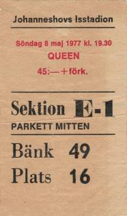 Ticket stub - Queen live at the Ice Stadium, Stockholm, Sweden [08.05.1977]