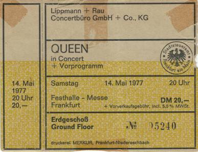 Ticket stub - Queen live at the Festhalle, Frankfurt, Germany [14.05.1977]