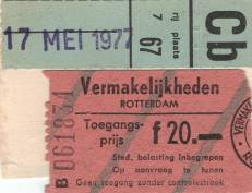 Ticket stub - Queen live at the Ahoy Hall, Rotterdam, The Netherlands [17.05.1977]