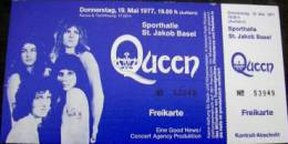 Ticket stub - Queen live at the Sporthalle, Basel, Switzerland [19.05.1977]