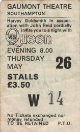 Ticket stub - Queen live at the Gaumont, Southampton, UK [26.05.1977]