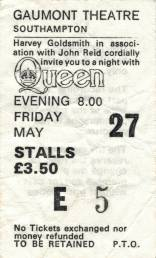 Ticket stub - Queen live at the Gaumont, Southampton, UK [27.05.1977]