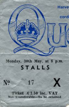 Ticket stub - Queen live at the Apollo Theatre, Glasgow, UK [30.05.1977]
