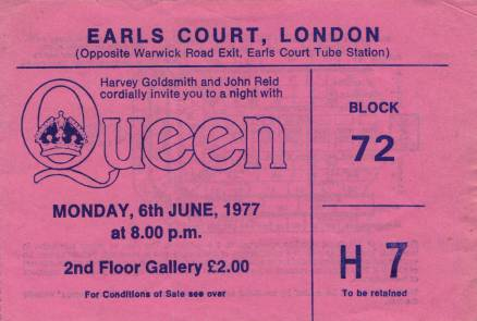 Ticket stub - Queen live at the Earls Court, London, UK [06.06.1977]