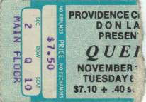 Ticket stub - Queen live at the Civic Centre, Providence, RI, USA [15.11.1977]