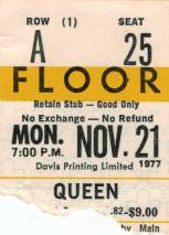 Ticket stub - Queen live at the Maple Leaf Gardens, Toronto, Canada [21.11.1977]