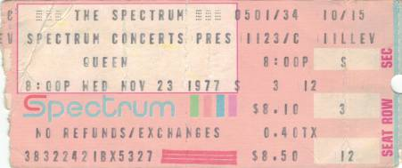 Ticket stub - Queen live at the The Spectrum, Philadelphia, PA, USA [23.11.1977]