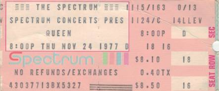 Ticket stub - Queen live at the The Spectrum, Philadelphia, PA, USA [24.11.1977]