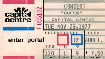 Ticket stub - Queen live at the Capital Centre, Landover, MD, USA [29.11.1977]