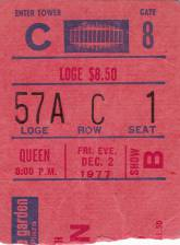 Ticket stub - Queen live at the Madison Square Garden, New York, NY, USA [02.12.1977]