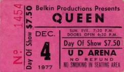 Ticket stub - Queen live at the University Arena, Dayton, OH, USA [04.12.1977]