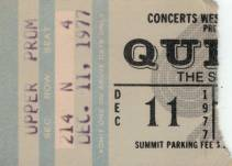 Ticket stub - Queen live at the Summit, Houston, TX, USA [11.12.1977]