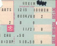 Ticket stub - Queen live at the Aladdin Centre, Las Vegas, NV, USA [15.12.1977]
