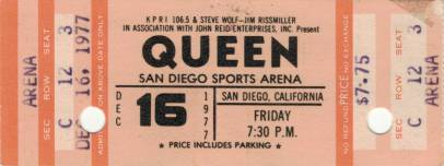 Ticket stub - Queen live at the Sports Arena, San Diego, CA, USA [16.12.1977]