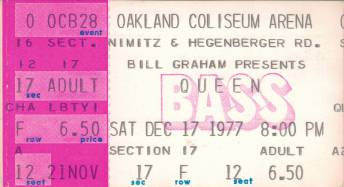 Ticket stub - Queen live at the County Coliseum, Oakland, CA, USA [17.12.1977]