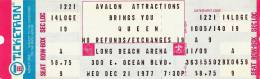 Ticket stub - Queen live at the Long Beach Arena, Long Beach, CA, USA [21.12.1977]