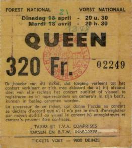Ticket stub - Queen live at the Forest National, Brussels, Belgium [21.04.1978]