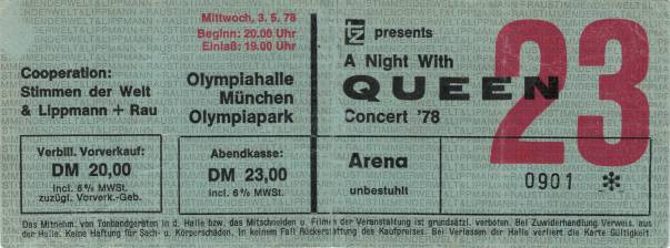 Ticket stub - Queen live at the Olympiahalle, Munich, Germany [03.05.1978]