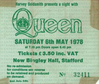 Ticket stub - Queen live at the New Bingley Hall, Stafford, UK [06.05.1978]