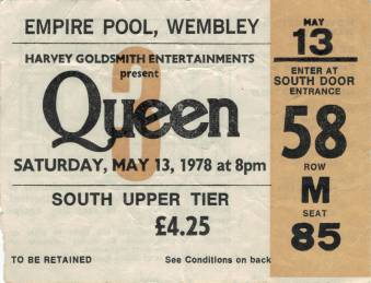 Ticket stub - Queen live at the Empire Pool, London, UK [13.05.1978]