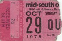 Ticket stub - Queen live at the Mid South Coliseum, Memphis, TN, USA [29.10.1978]