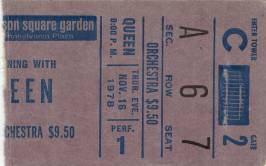 Ticket stub - Queen live at the Madison Square Garden, New York, NY, USA [16.11.1978]