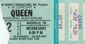 Ticket stub - Queen live at the Auditorium, Nashville, TN, USA [22.11.1978]