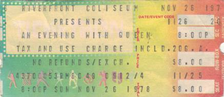 Ticket stub - Queen live at the Riverfront Coliseum, Cincinnati, OH, USA [26.11.1978]
