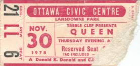 Ticket stub - Queen live at the Civic Centre, Ottawa, Canada [30.11.1978]
