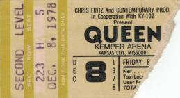 Ticket stub - Queen live at the Kemper Arena, Kansas City, MO, USA [08.12.1978]