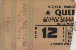 Ticket stub - Queen live at the Coliseum, Seattle, WA, USA [12.12.1978]
