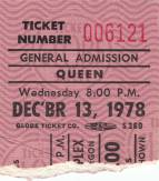 Ticket stub - Queen live at the Coliseum, Portland, OR, USA [13.12.1978]