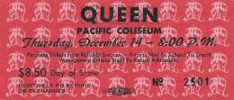 Ticket stub - Queen live at the PNE Coliseum, Vancouver, Canada [14.12.1978]